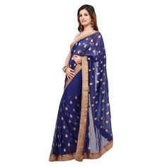 Navy blue net sari with zari embroidery.