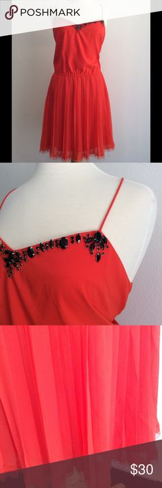 Victoria's Secret Embellished Knife Pleat Dress L Gorgeous burnt orange pleat dress. Embellished with spaghetti straps. Criss crossed in the back and lace on the hem. Just gorgeous. Size large. Dresses