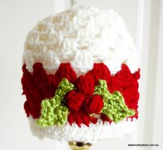 Crochet Baby Christmas Hat with Holly | BubbyBear - Toddler & Baby Crochet Hats, Headbands, Clothing and Accessories