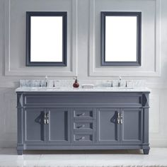 Victoria 72 Double Bathroom Vanity Set with White Marble Top and Mirror with Price : $ 1579.99