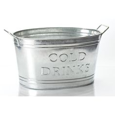 KINDWER Galvinized Cold Drinks Oval Tub ($38) ❤ liked on Polyvore featuring home, kitchen & dining, bar tools, decor, silver, beverage holder, beer holder and drink holder