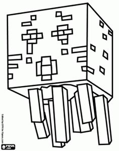 Ghast from Minecraft. A creature resembling a jellyfish ghost coloring page