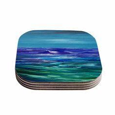 "Cyndi Steen ""Moonlit Waves"" Blue Purple Coasters (Set of 4)"