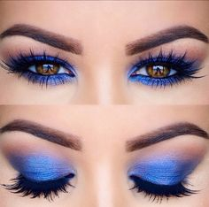 Check the best blue eyeshadow makeup looks to try this season and maintain a fresh, modern style. 65 Eye-Catching Blue Eyeshadow makeup Looks for Prom ? Blue Makeup Looks, Blue Eye Makeup, Makeup For Brown Eyes, Blue Eyeshadow For Brown Eyes, Blue Eye Shadow, Dramatic Makeup, Gorgeous Makeup, Love Makeup, Beauty Makeup