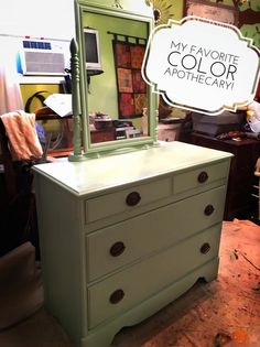 old dresser painted in DIY paint Apothecary