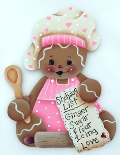 HP GINGERBREAD FRIDGE MAGNET  with a shopping list