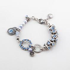 B1253 Burnished silver, light sapphire Swarovski crystal and light blue freshwater pearl charm bracelet #miglio