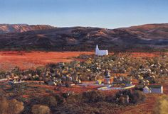 This painting looks south on the 1878 St. George Valley from the Red Bluffs located above it.
