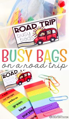 These road trip bags are perfect for any type of road trip!  From patterns to counting to colors, your little ones will love it! #mrsjonescreationstation #mjcs #travelingwithkids #busybags #busybagsfortoddlers #busybagsforpreschoolers