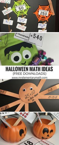 Learn 4 fun Halloween themed math activities. You will find math activities like Tricky Treats, Webby Math Representations, Fill the Pumpkin and Spider Equations. Download the FREE templates and watch my Halloween Special to see me walk through these ideas.