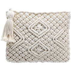 Yoins Beige Woven Square Zip Tassel Clutch Bag ($23) ❤ liked on Polyvore featuring bags, handbags, clutches, beige, hand woven bags, beige purse, print handbags, zipper handbag and white purse