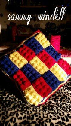 Lego cushion from lego blanket tutorial on YouTube