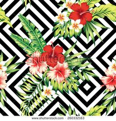 Tropic painting floral wallpaper. Red and pink hibiscus, plumeria and palm banana leaf. Vector geometric black and white background. Seamless pattern