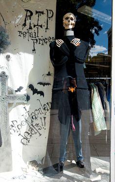Ethan (The Costume Shop) Halloween Window Display, Halloween Displays, Halloween Decorations, Thanksgiving Decorations, Halloween Skeletons, Halloween Costumes, Halloween Stuff, Halloween Ideas, Store Front Windows