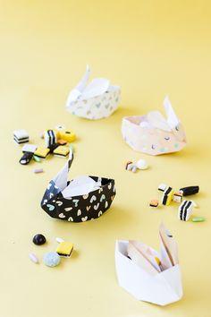 DIY: origami easter bunny baskets