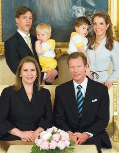 (L-R)Maria Teresa, Grand Duchess, Henri, Grand Duke of Luxembourg, Prince Louis, holding Prince Noah, Prince Gabriel and Princess Tessy of Luxembourg