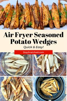 Easy Air Fryer Seasoned Potato Wedges is a quick and healthy recipe that uses fresh-cut russet potatoes, Herbes de Provence seasoning, and smoked paprika to produce crispy potato wedges with a soft interior. You can use your Power Air Fryer XL, Nuwave, or any brand for this dish. If you love KFC wedges or homemade French fries, you will love these! You can also use red potatoes or Yukon gold. Air Fryer Dinner Recipes, Air Fry Recipes, Lunch Recipes, Beef Recipes, Soup Recipes, Chicken Recipes, Vegetarian Recipes, Healthy Recipes, Easy Recipes