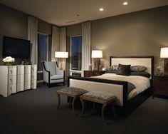 Fascinating Home Interior with Cozy Furniture : Chic Contemporary Bedroom Decor Soft Headboard 50 E Chestnut