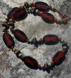 Double Trident Oval Agate Necklace with Carnelian by cherries33
