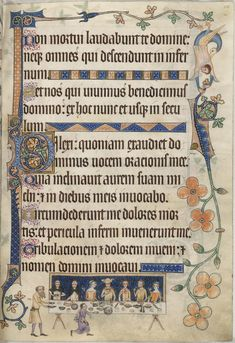 The Luttrell Psalter is one of the most famous medieval manuscripts because of its rich illustrations of everyday life in the century. It was made in the diocese of Lincoln for Sir Geoffrey Luttrell - of Irnham, probably sometime between 1325 and Illuminated Letters, Illuminated Manuscript, Psalm Of Thanksgiving, Statues, Medieval Manuscript, Medieval Books, Calendar Pages, Book Of Hours, Anglo Saxon