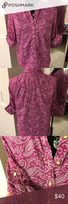 Tommy Hilfiger purple paisley tunic👚SALE Tommy Hilfiger purple paisley tunic- sleeves can be left long or rolled up - has gorgeous button detailing on neckline and sleeves! Tommy Hilfiger Tops Tunics