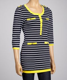 This Yellow & Navy Stripe Tunic is perfect! #zulilyfinds I love this top!!! Too bad they don't have it in my size. :(