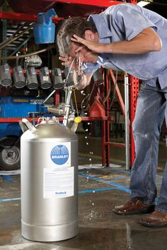 Maintain water flow for approximately 15 minutes with the Portable Pressurized Eyewash Unit.