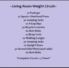 Living room weight circuit... loved this workout!