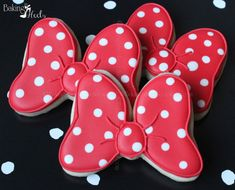 Listing is for One dozen (12) Minnie Mouse Inspired Bow cookies, 3 DATE NEEDED: Please leave your event date in note to seller during checkout.