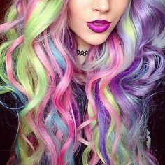 Tag a friend that would love this hair! @amythemermaidx #hair #inspo #haircolour #multicolour #longhair #curls #hairfashion #hairtrend