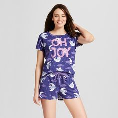 01010133ec Nite Nite by Munki Munki Women s Short Sleeve and Shorts Pajama Set - Navy  Oh Joy Eeyore XS