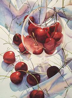 Chris Krupinski - Glass of Cherries 30x22 watercolor: