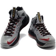 http://www.asneakers4u.com/ Nike LeBron 10 P.S. Elite Grey/Black/Red Sale Price: $76.30
