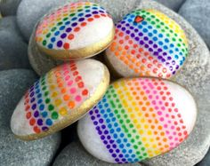 magnet set / painted rocks / painted stones / by LoveFromCapeCod Feather Painting, Pebble Painting, Pebble Art, Stone Painting, Rock Painting, Stone Crafts, Rock Crafts, Painted Rocks, Hand Painted