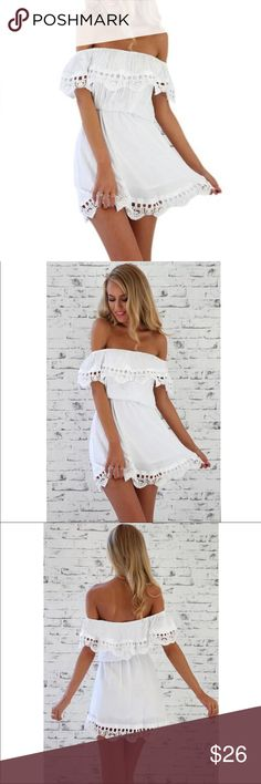 "White Lace Off-Shoulder Sexy Strapless Beach Dress Very pretty NWT white open shoulder summer dress with gorgeous lace detail.   Prefer another size?   Just let me know and the order will be placed!   Very stretchy elastic waist and top for perfect fit.  Size M is true to size.  Elastic waist fits 21"" to 34"".   Length from waist to the bottom is 19"".  Beautiful!   We ship quickly....Typically daily...With FREE GIFT! 🎁 (G8) Dresses Mini"