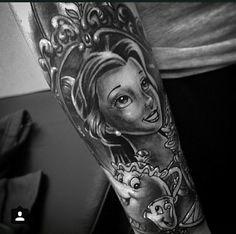 Black & Grey beauty and the beast tattoo