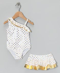 Take a look at this White Hula Glitz One-Piece & Skirt - Infant, Toddler & Girls by Baby Buns on #zulily today!