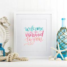 mermaid lagoon print add a little bit of magic to you home decor - Mermaid Home Decor