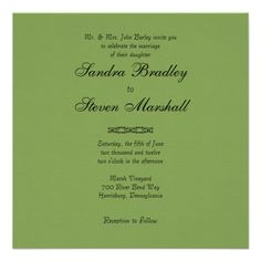 Simple Asparagus Green Wedding Invitations