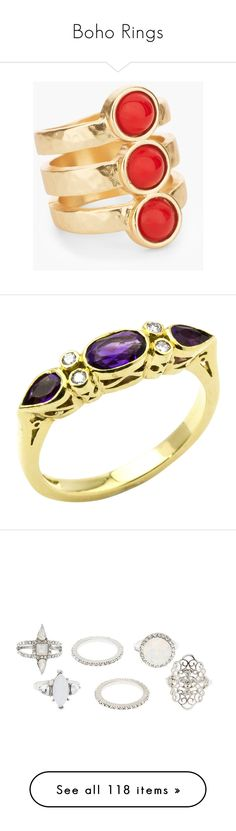 """""""Boho Rings"""" by deborah-97 ❤ liked on Polyvore featuring jewelry, rings, coral, plastic rings, cabochon ring, imitation jewellery, artificial jewellery, plastic jewelry, amethyst engagement ring and oval engagement rings"""