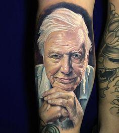 Very nice full colors realistic tattoo style of Sir David Attenborough portrait done by tattoo artist Steve Butcher New Tattoos, Body Art Tattoos, Tattoos For Guys, Cool Tattoos, Amazing Tattoos, Tatoos, Tv Tattoo, Tattoo Pain, Tasteful Tattoos
