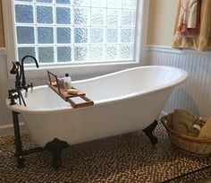 """Cast Iron Slipper Tub with Faucet hole Drillings & Oil Rubbed Bronze Feet- """"Chariton"""" The Tub Connection Claw Bathtub, Clawfoot Tub Bathroom, Small Bathroom, Bathroom Ideas, Master Bathroom, Bathroom Hacks, Bathroom Showers, Bath Ideas, Bathroom Faucets"""