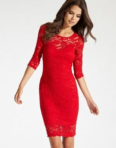 Red Lace Dresses With Sleeves