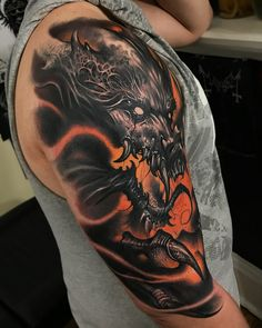 Image may contain: one or more people Celtic Tattoos For Men, Dragon Tattoos For Men, Dragon Sleeve Tattoos, Dragon Tattoo Designs, Japanese Leg Tattoo, Japanese Dragon Tattoos, Japanese Tattoo Designs, Flame Tattoos, Leg Tattoos