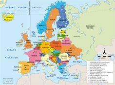 Listado de los cincuenta paises que conforman europa junto con sus capitales