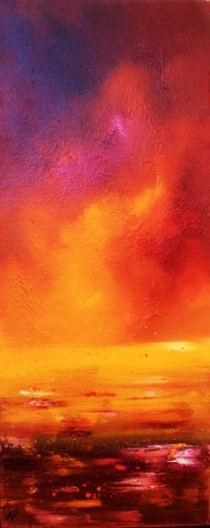 An oil painting & prints of a Loch Ness Sunset, Highlands, Scotland  Original mixed media painting in oil paint and spray paint on box canvas.  Canvas dimensions are 50 x 20 x 3 cm  (19.5 x  8 x 1.5 Inches)  Original painting and a range of prints are available.