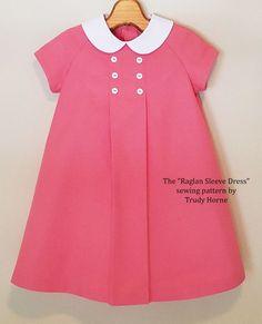 "The ""Raglan Sleeve Dress"" sewing pattern by Trudy Horne. Tuck Dress, Little Dresses, Little Girl Dresses, Girls Dresses, Frock Design, Toddler Dress, Baby Dress, Moda Kids, Dress Sewing Patterns"