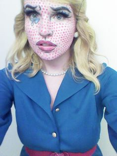of my traffic comes from people looking up Lichtensten costumes, that's a fact. I thought I'd pander to anyone who is looking for more Roy Lichtenstein costume images who isn'… Comic Book Makeup, Comic Costume, Costume Ideas, Costumes, Roy Lichtenstein, Diy Dress, Makeup Looks, Halloween Face Makeup, Make Up