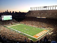 Darrell K Royal-Texas Memorial Stadium at Night, home of the University of Texas Longhorns. On October 6, 2012 record attendance of 101,851 spectators when Texas played West Virginia.