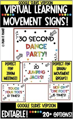 Do your students need fun breaks during your virtual instruction? Do you want your students to feel excited & happy? It is time to add these signs to your virtual classroom! Just pick a slide and put it up before, during or after a lesson! #distancelearningelementary #distancelearningkindergarten #distancelearningschedule #distancelearningspecialeducation #distancelearningmorningmeeting #virtuallearningclassroom #googleslidestemplatesforteacher #googleslideskindergarten #zoomclassmeetingidea